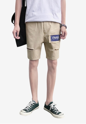 hk-ehunter beige Men Patchwork Shorts BABB2AA93BC3F7GS_1