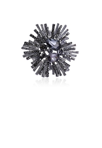Glamorousky black Fashion and Elegant Geometric Flower Brooch with Black Cubic Zirconia B102CACCA8CFFAGS_1