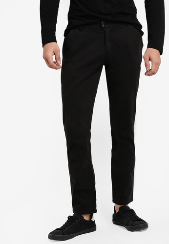 ZALORA black Slim Fit Chino Button Tab Pants F912FAAEDF8119GS_1