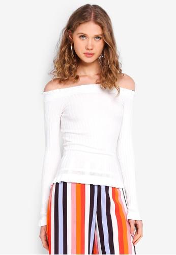 f449d755a8fd1e Buy Miss Selfridge Cream Bardot Frill Ribbed Knitted Top