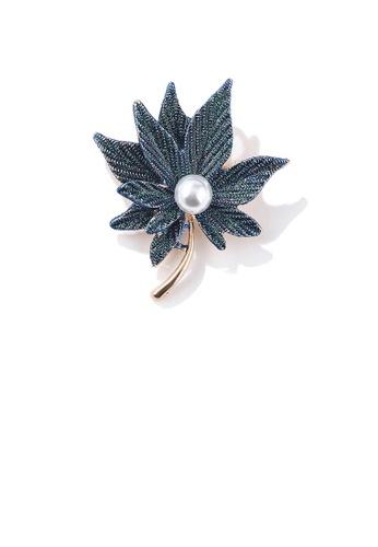 Glamorousky white Fashion and Elegant Plated Gold Green Maple Leaf Imitation Pearl Brooch 20EFDACF343F6CGS_1