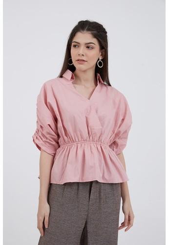 Berrybenka Label pink Sophie Karinka Knotted Blouse Dusty Pink 7FA31AA1013E1EGS_1