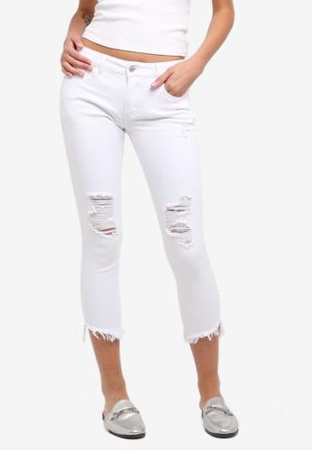 ZALORA white Mid Rise Ripped Skinny Jeans 332ECAAD343312GS_1