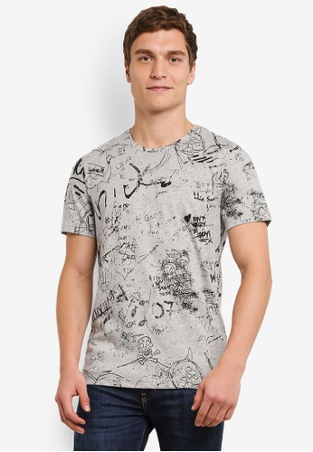 Only & Sons grey Doodle Short Sleeve Tee ON662AA0S5OXMY_1