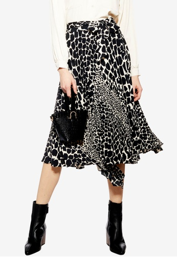 a2b19ab000 TOPSHOP black Giraffe Spot Pleat Midi Skirt FB3B9AA595E76EGS_1