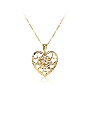 Glamorousky silver Elegant Plated Gold Hollow Heart Pendant with Necklace ED605AC7AD28A0GS_1