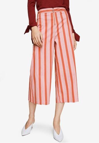 Mango red Striped Crop Trousers 578C6AA12443A9GS_1