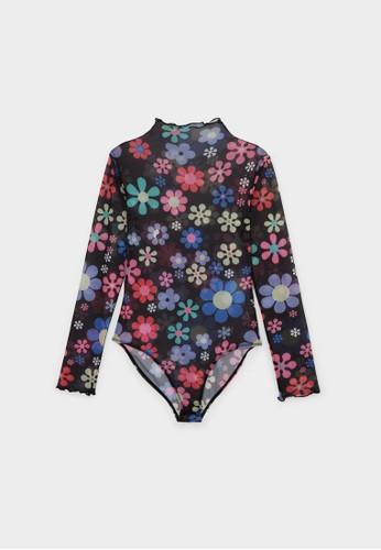 Pomelo black Sheer Flower Print Long Sleeve Bodysuit - Black 8ED3CAACDACA91GS_1