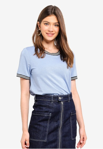 Pieces blue Sarah Short Sleeve Tee 6EAB5AAA4B9F9AGS_1