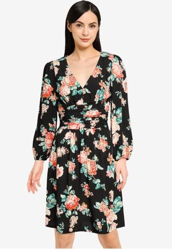 Springfield black Printed Gathered Waist Dress 4B3ACAA7544866GS_1