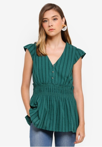 ESPRIT green Woven Short Sleeve Blouse 1385BAAAE66C60GS_1