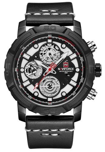 Naviforce black Naviforce - Jam Tangan Pria - Black - Leather Strap - NF9139-A CB315AC9FB4D09GS_1
