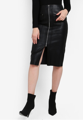 new york first look huge selection of Buy River Island Zip Pocket Pu Pencil Skirt | ZALORA HK