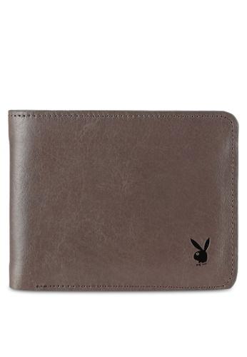 Playboy grey Men's Genuine Leather Bi Fold Wallet PL371AC0RX5KMY_1