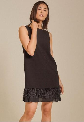 Dressing Paula black Feather-Trimmed Shift Crepe Dress 69C06AAF8F0675GS_1