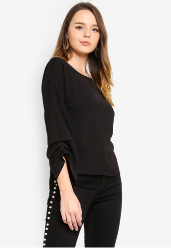 ZALORA black Ruched Sleeves Top CE538AA67377C1GS_1