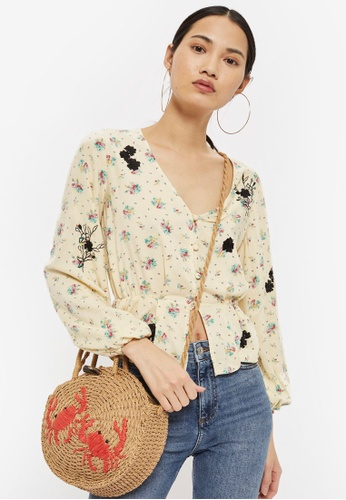 TOPSHOP yellow Embroidered Floral Blouse 4D623AA40FB253GS_1