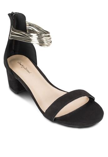 金屬帶包跟粗跟涼鞋、 女鞋、 知性女強人SomethingBorrowed金屬帶包跟粗跟涼鞋最新折價