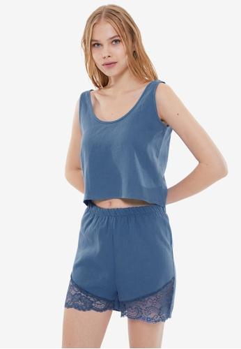 Trendyol 海軍藍色 蕾絲 睡衣組 D368FAAC0ECE7CGS_1