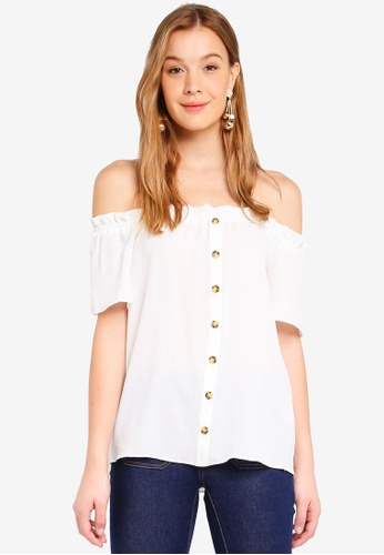 13e4e352774 Buy Dorothy Perkins Ivory Horn Button Bardot Top | ZALORA HK