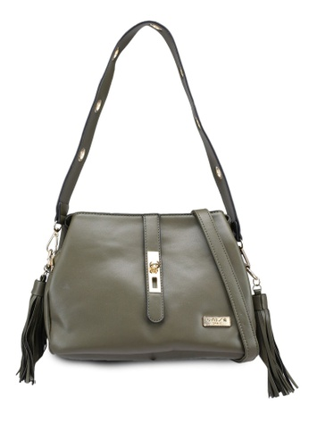 Unisa green Faux Leather Shoulder Bag With Tassel 2241EACE0A40E5GS_1