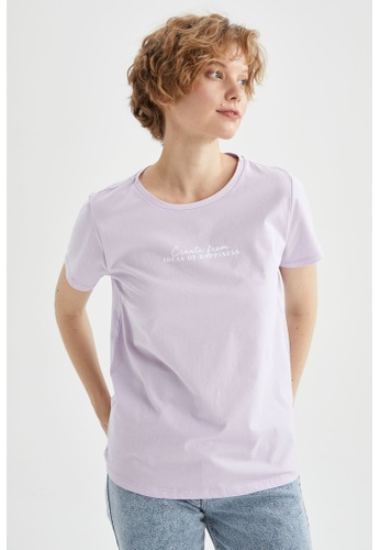 DeFacto purple Short Sleeve Cotton T-Shirt 29D89AA7071CB3GS_1