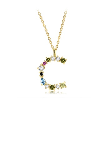 Glamorousky silver 925 Sterling Silver Plated Gold Fashion Simple Color English Alphabet C Pendant with Cubic Zirconia and Necklace 64085ACC768CD3GS_1