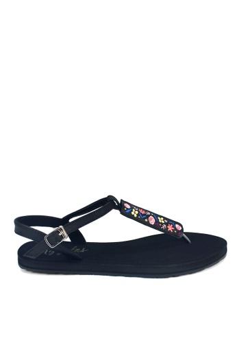 Ripples black Floral Embroidery Slide'N'Style T-Bar Sandals DE507SH3FB2E9FGS_1