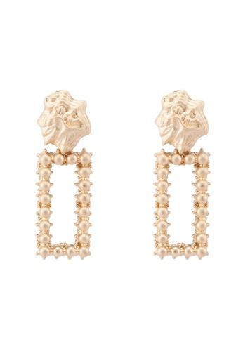 Red's Revenge gold Rectangle Studded Gold Dangle Earrings 7DB20AC465FFFFGS_1