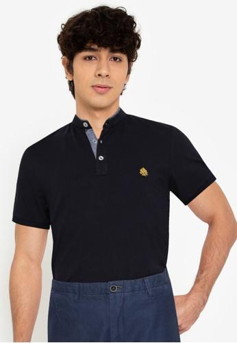 Springfield navy Slim Fit Mandarin Comfort Polo Shirt F7EE4AA3FDFCCFGS_1