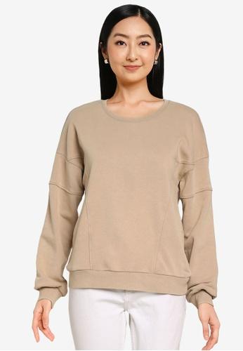 ONLY beige Lavender Long Sleeves Sweatshirt C0739AA35E23B3GS_1