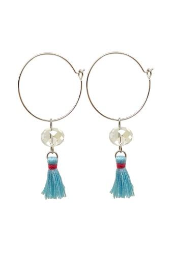 Fur Nyce blue Mini Tassel Hoop Drop Earrings 4EA37AC5968F7FGS_1