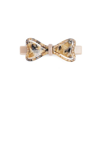 Glamorousky gold Fashion and Elegant Brown Tortoiseshell Ribbon Hair Slide with Cubic Zirconia 98ED3ACE52406CGS_1