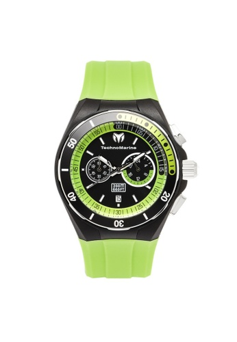 TECHNOMARINE green Technomarine Cruise Men 45mm Case Green Silicone Strap Black Dial Quartz Watch TM-115160 TE359AC0F5CLSG_1