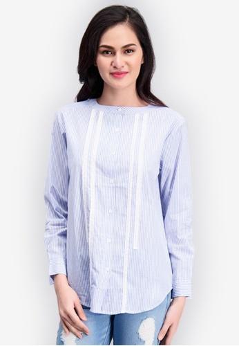 BENCH blue Striped Long Sleeve Shirt 5E384AAAAE25EEGS_1