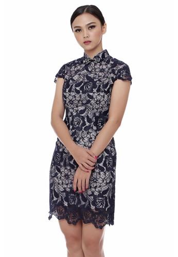 Mandarin Peony Cheongsam silver and grey and navy Mandarin Peony AVA Cheongsam Dress MA048AA22QTPID_1