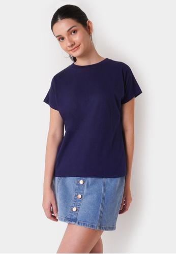 Penshoppe blue Women's Dress Code Extended Sleeves Basic Top 61934AAA094DDBGS_1