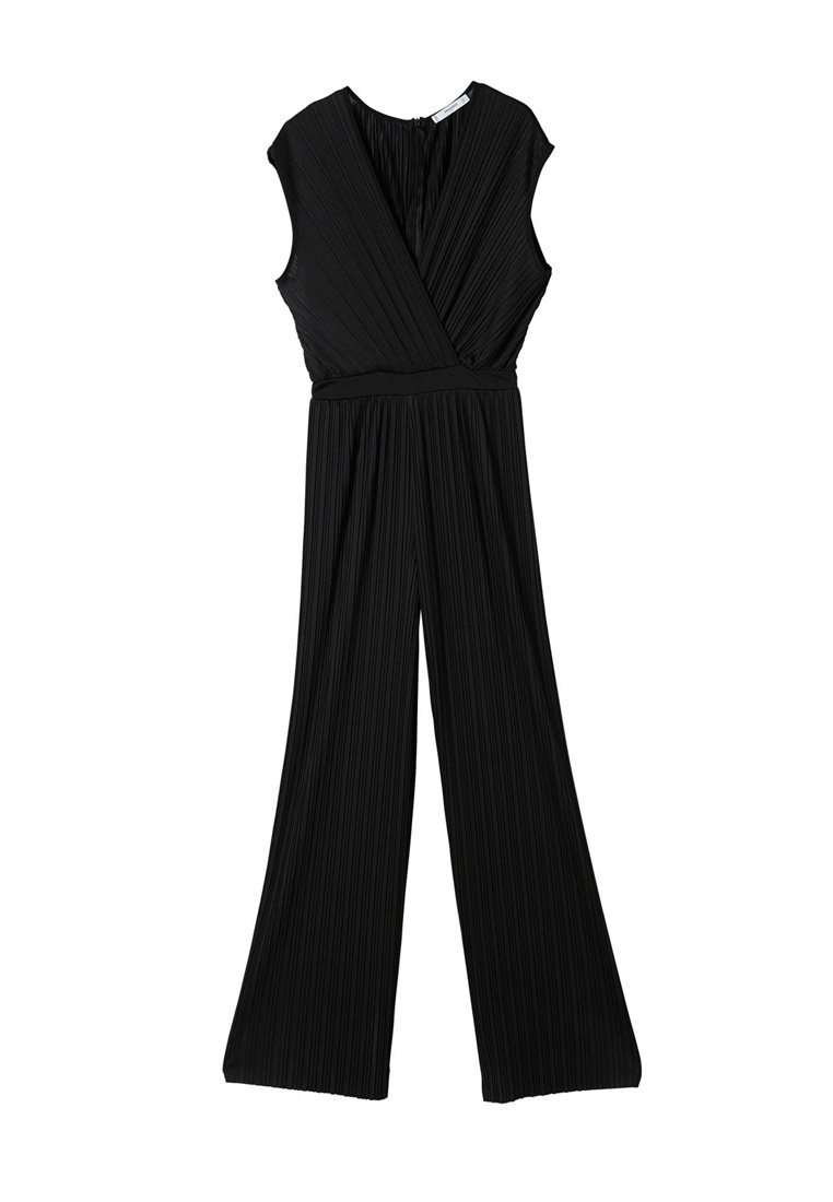 Mango Mango Black Pleated Jumpsuit Pleated 4R50Pwx1