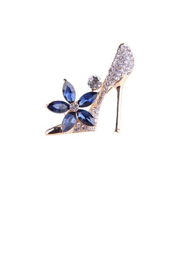 Glamorousky white Fashion Bright Plated Gold High Heels Blue Flower Brooch with Cubic Zirconia E37A2ACAAF975CGS_1