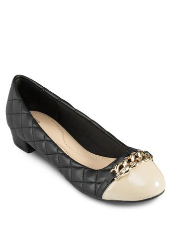 撞色拼zalora 順豐接鍊飾低跟鞋, 女鞋, 鞋