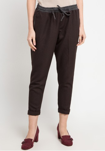 Meitavi's multi and brown Contrast Straight Pants D7778AA9E55A76GS_1