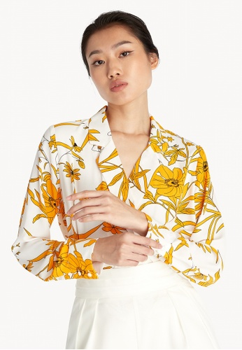 Pomelo white Floral Surplice Bodysuit - White FECB4AAF012751GS_1