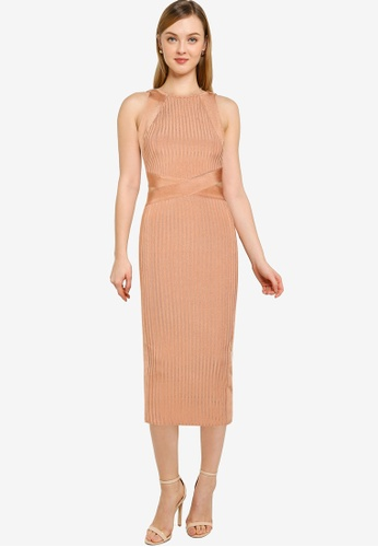 MISSGUIDED brown Tall Bandage High Neck Midi Dress 4A255AAB344BC3GS_1