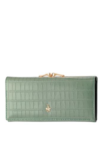 Swiss Polo green Croc Textured Clip Long Wallet 0B042ACBE04FFBGS_1