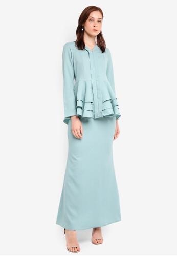 Aqeela Muslimah Wear blue Qhalisha Peplum Tiered Kebaya C8C86AA2BC8E4EGS_1