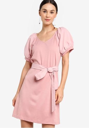 ZALORA pink Balloon Sleeve A-Line Dress 7A405AA5D49035GS_1