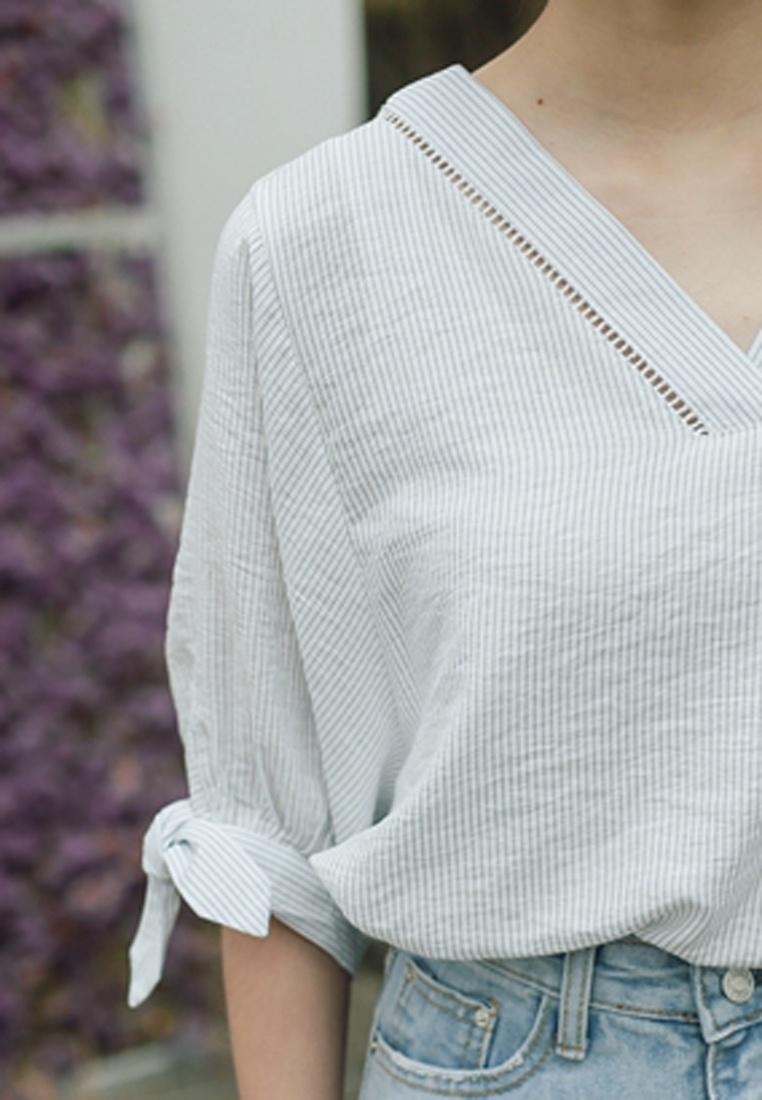Shopsfashion Blue Blue White Blouse Strip Sleeve Bat in qOxUq47p