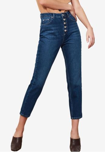 Trendyol navy Front Button High Waist Jeans A9992AAB1006E5GS_1