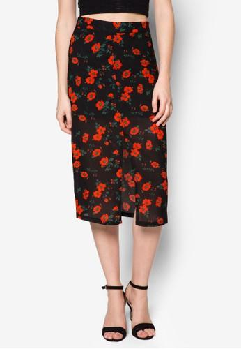碎花前esprit 品牌開衩鉛筆裙, 服飾, 裙子