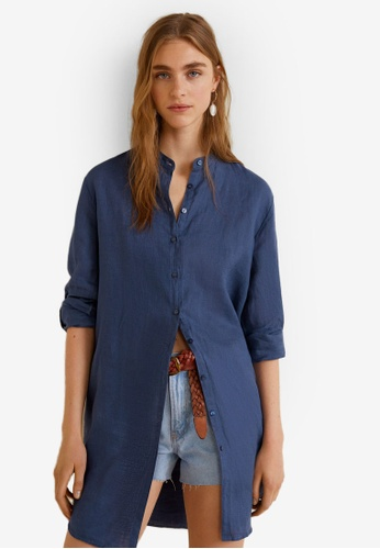 Mango blue Mao Collar Linen Shirt EC46EAAF8FCC5AGS_1